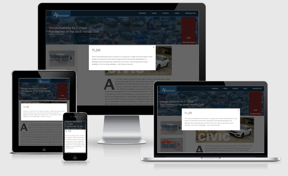 Fully responsive website from mobile phone to full desktop and everything in between